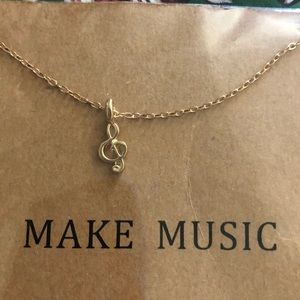 Jewelry - 😊5/$20 Music Note 🎼 gold tone necklace Brand New